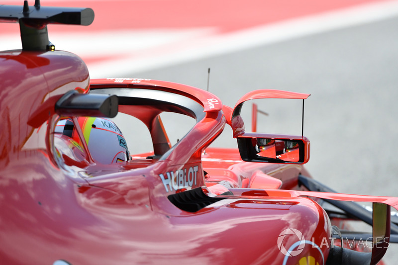 Sebastian Vettel, Ferrari SF71H with mirror on halo