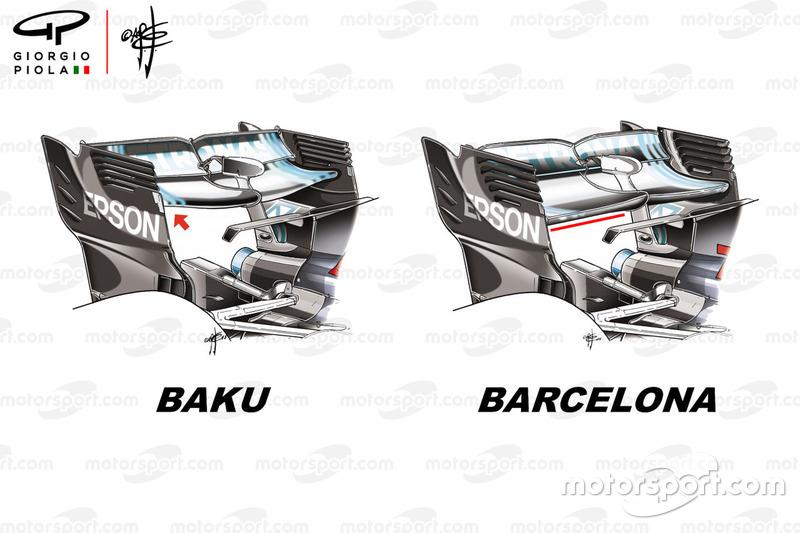El alerón trasero del Mercedes F1 W09 en Azerbaiyán y en España