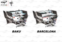 Alerón trasero del Mercedes F1 W09 en los GP de Azerbaiyán y España