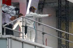 Lewis Hamilton, Mercedes AMG F1, celebrates on the podium