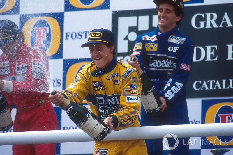 Prost, Senna y Schumacher en el podio