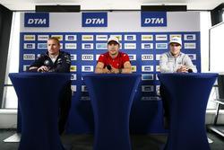 Pressekonferenz: Maxime Martin, BMW Team RBM, BMW M4 DTM, Mike Rockenfeller, Audi Sport Team Phoenix, Audi RS 5 DTM, Lucas Auer, Mercedes-AMG Team HWA, Mercedes-AMG C63 DTM