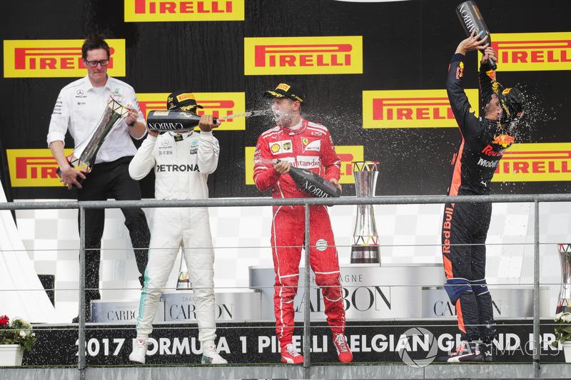 Подіум:  Себастьян Феттель, Ferrari, Льюіс Хемілтон, Mercedes AMG F1, Даніель Ріккардо, Red Bull Racing