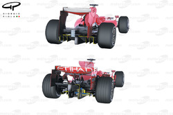 Ferrari F60 (660) 2009 diffuser comparison with F2008