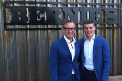 Bernhard van Oranje, co-owner Circuit Zandvoort, with Max Verstappen, Red Bull Racing, in front of a sign of Circuit Zandvoort's new restaurant Bernie's