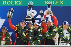 Podium GTE AM: 1. Robert Smith, Will Stevens, Dries Vanthoor, JMW Motorsport