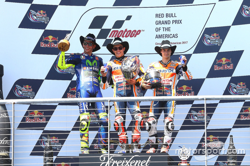 Podium: race winner Marc Marquez, Repsol Honda Team, second place Valentino Rossi, Yamaha Factory Racing, third place Dani Pedrosa, Repsol Honda Team