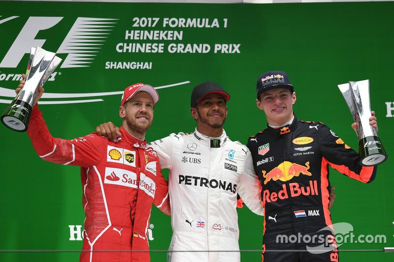 Çin GP - Kazanan Lewis Hamilton, 2. Sebastian Vettel, 3. Max Verstappen