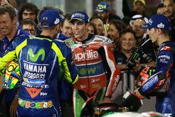 El ganador Maverick Viñales, Yamaha Factory Racing, Valentino Rossi, Yamaha Factory Racing,Aleix Espargaro, Aprilia Racing Team Gresini