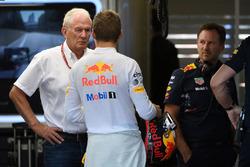 Dr Helmut Marko, Red Bull Motorsport Consultant, Max Verstappen, Red Bull Racing,Christian Horner, Red Bull Racing Team Principal