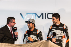David Croft, Sergio Perez und Esteban Ocon, Sahara Force India F1 Team