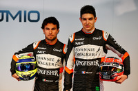 (L to R): Sergio Perez, Sahara Force India F1 with team mate Esteban Ocon, Sahara Force India F1 Team
