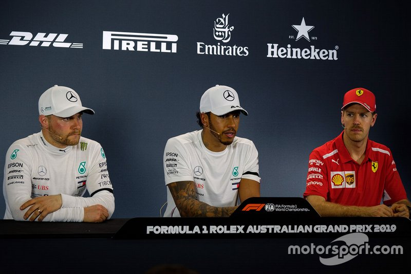 Press conference: pole sitter Lewis Hamilton, Mercedes AMG F1, second place Valtteri Bottas, Mercedes AMG F1 and third place Sebastian Vettel, Ferrari