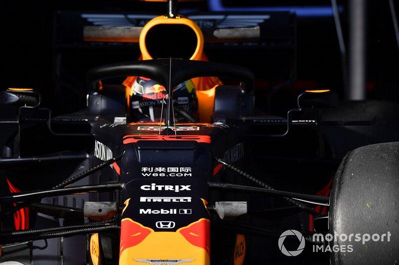 Un capteur aérodynamique sur la voiture de Max Verstappen, Red Bull Racing RB15