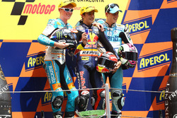 Podium: second place Bradley Smith, Race winner Marc Marquez, third place Pol Espargaro