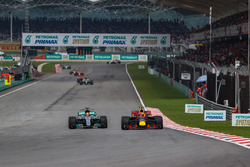 Lewis Hamilton, Mercedes-Benz F1 W08  and Max Verstappen, Red Bull Racing RB13 battle