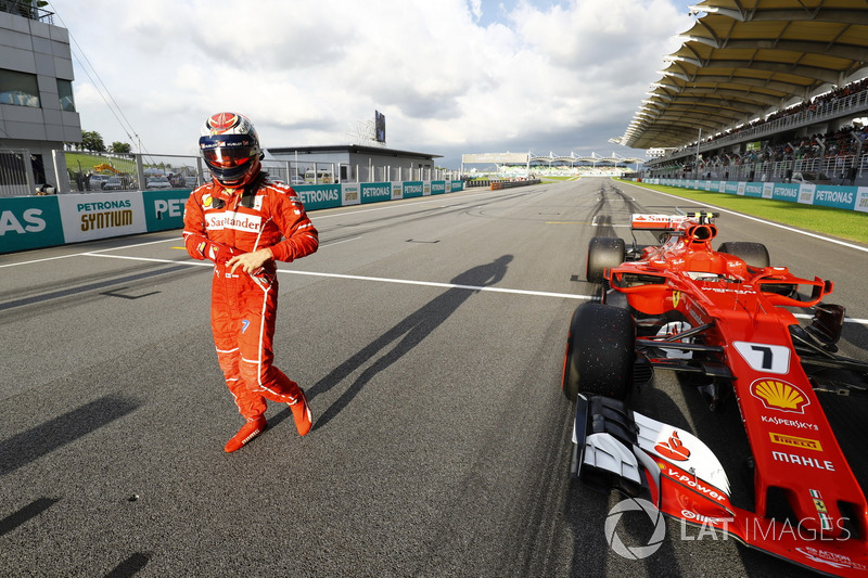 Kimi Raikkonen, Ferrari, fête sa deuxième place