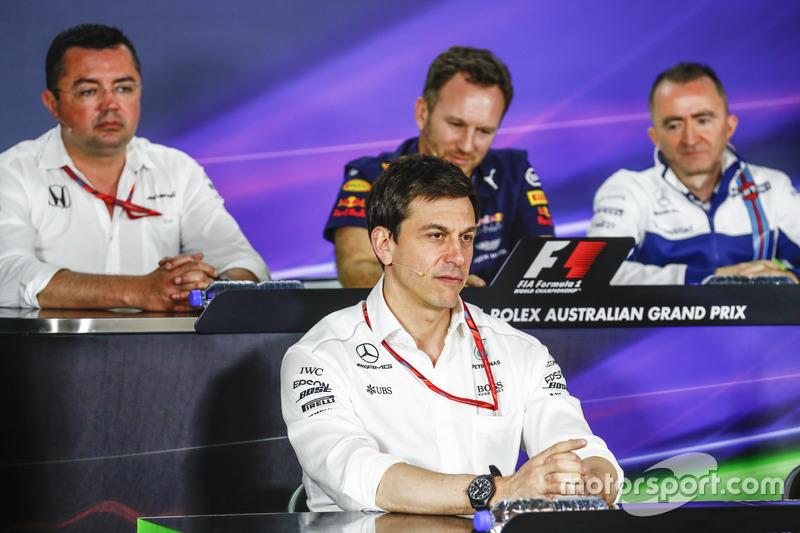 Pressekonferenz: Eric Boullier, McLaren; Christian Horner, Red Bull Racing; Toto Wolff, Mercedes; Paddy Lowe, Williams