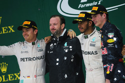 The podium (L to R): Nico Rosberg, Mercedes AMG F1, second; Bradley Lord, Mercedes AMG F1 Communications Manager; Lewis Hamilton, Mercedes AMG F1, race winner; Max Verstappen, Red Bull Racing, third