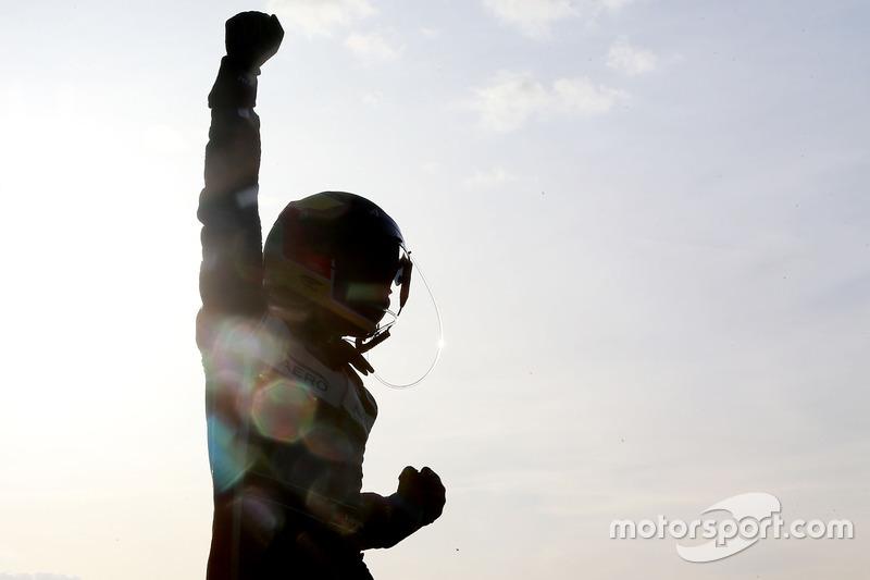 Filipe Albuquerque, United Autosports, celebrates the win
