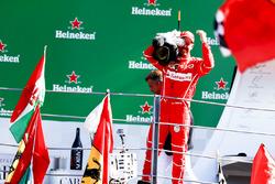 Third place Sebastian Vettel, Ferrari, borrows a TV camera to film the crowd