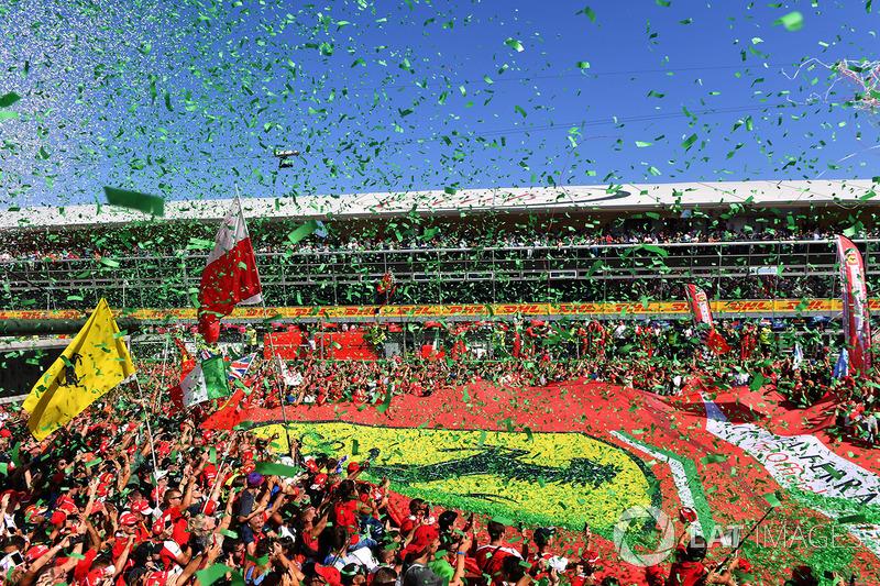 Ferrari fans and giant Ferrari flag