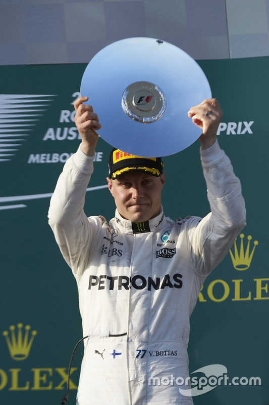 Valtteri Bottas, Mercedes AMG, 3rd Position, with his trophy