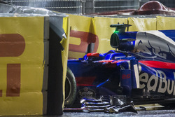 The wrecked Daniil Kvyat Scuderia Toro Rosso STR12