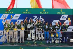Podium: race winners Timo Bernhard, Earl Bamber, Brendon Hartley, Porsche Team, second place Ho-Pin Tung, Oliver Jarvis, Thomas Laurent, DC Racing, third place Mathias Beche, David Heinemeier Hansson, Nelson Piquet Jr., Vaillante Rebellion Racing