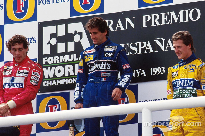 Podium: race winner Alain Prost, Williams, Ayrton Senna, McLaren, Michael Schumacher, Benetton