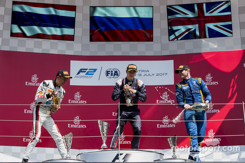 Подіум: переможець Артем Маркелов (RUSSIAN TIME), другий призер Александр Альбон (ART Grand Prix) і