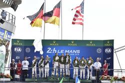 LMGTE Pro podium: winners Michael Christensen, Kevin Estre, Laurens Vanthoor, Porsche GT Team, second place Richard Lietz, Gianmaria Bruni, Frederic Makowiecki, Porsche GT Team, third place Joey Hand, Dirk Müller, Sébastien Bourdais, Ford Chip Ganassi Racing