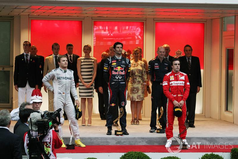 2012: 1. Mark Webber, 2. Nico Rosberg, 3. Fernando Alonso