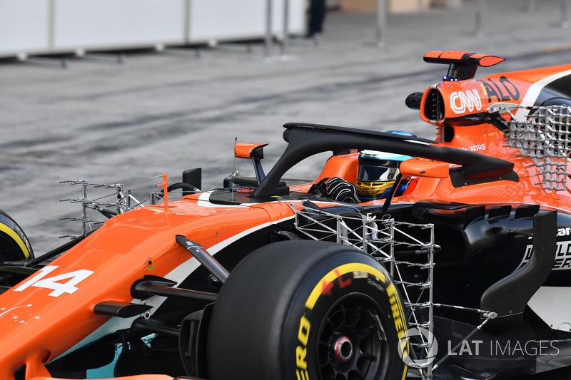Fernando Alonso, McLaren MCL32, aero sensors and halo