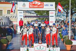 Podium: winners Sébastien Ogier, Julien Ingrassia, M-Sport Ford, second place Ott Tanak, Martin Järveoja, Toyota Gazoo Racing, third place, Jari-Matti Latvala, Miikka Anttila, Toyota Gazoo Racing