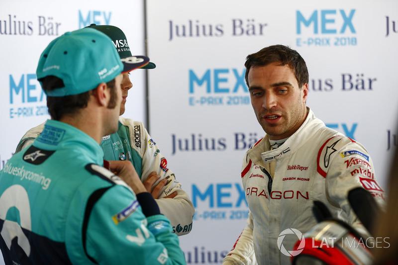 Jérôme d'Ambrosio, Dragon Racing, in the press pen with Luca Filippi, NIO Formula E Team, Tom Blomqvist, Andretti Formula E Team