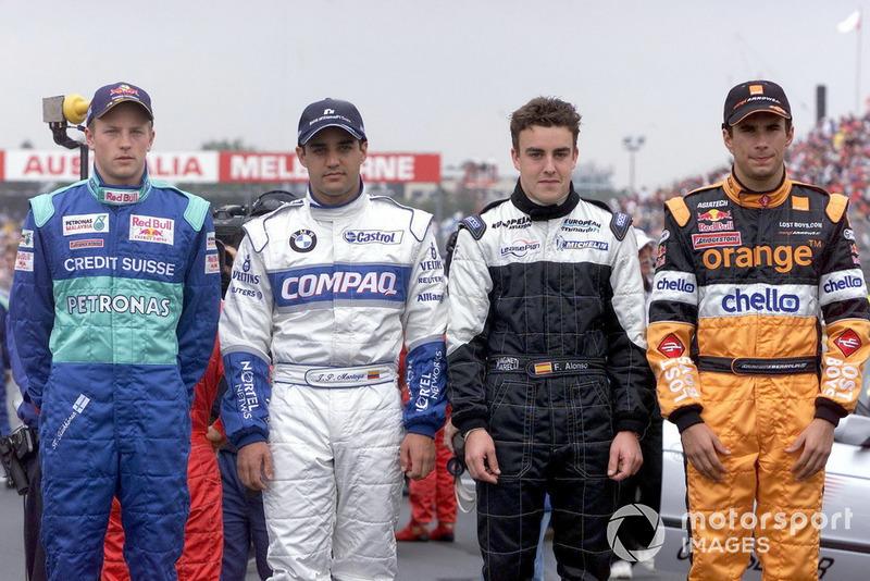 Дебютанти Ф1: Кімі Райкконен (Sauber), Хуан-Пабло Монтойя (Williams), Фернандо Алонсо (Minardi) та Енріке Бернольді (Arrows)