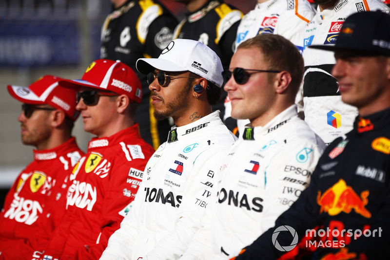 Sebastian Vettel, Ferrari, Kimi Raikkonen, Ferrari, Lewis Hamilton, Mercedes AMG F1, Valtteri Bottas, Mercedes AMG F1, Max Verstappen, Red Bull Racing.