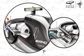 Mercedes W09, comparazioni tra l'Halo con e senza i flap