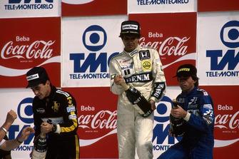 Winner Nelson Piquet, Williams FW11, Ayrton Senna, Lotus 98T, 2nd place, Jacques Laffite, Ligier JS27, 3rd place