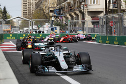 Valtteri Bottas, Mercedes AMG F1 W09, leads Daniel Ricciardo, Red Bull Racing RB14 Tag Heuer, Max Verstappen, Red Bull Racing RB14 Tag Heuer, Kimi Raikkonen, Ferrari SF71H, and Esteban Ocon, Force India VJM11 Mercedes, at the start