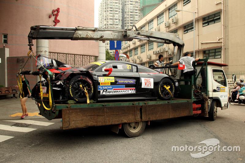 El coche chocado de Markus Pommer, Aust Motorsport, Audi R8 LMS
