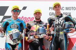Podio: ganador de la carrera Brad Binder, Red Bull KTM Ajo Moto2, segundo clasificado Joan Mir, Marc VDS Moto2, tercer clasificado Luca Marini, Sky Racing Team VR46 Moto2