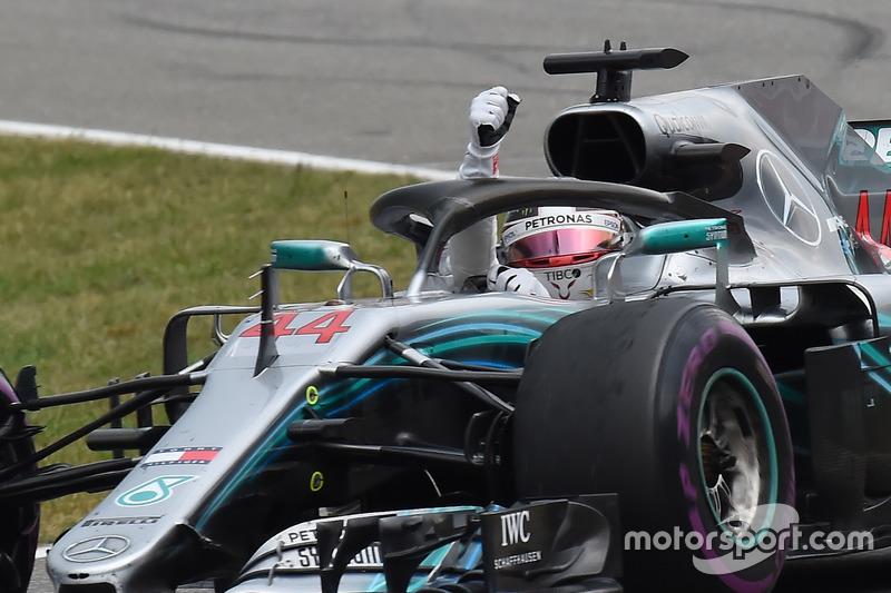 Hamilton celebrates win