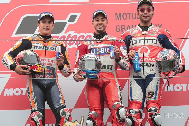 Podium : 1er Andrea Dovizioso, 2e Marc Márquez, 3e Danilo Petrucci