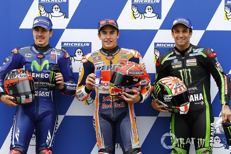 Pole sitter Marc Marquez, Repsol Honda Team, second place Maverick Viñales, Yamaha Factory Racing, third place Johann Zarco, Monster Yamaha Tech 3