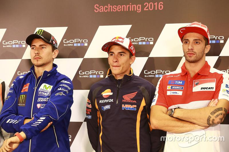 Jorge Lorenzo, Yamaha Factory Racing, Marc Marquez, Repsol Honda Team and Andrea Iannone, Ducati Tea