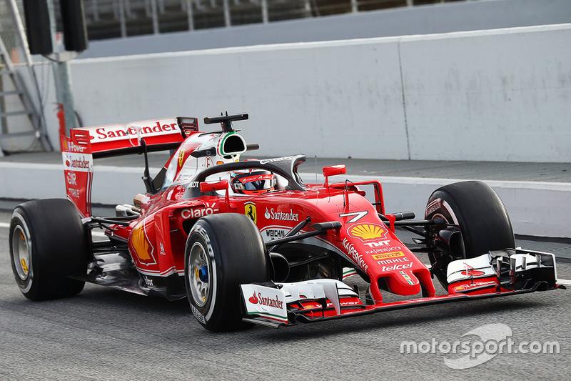 Kimi Raikkonen, Ferrari SF16-H running the halo cockpit cover