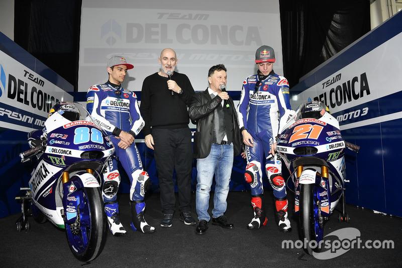 Jorge Martín, Gresini Racing Team y Fabio Di Giannantonio, Gresini Racing Team con Fausto Gresini, Team Manager