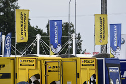 Dunlop and Michelin flags